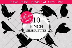 Finch bird Silhouette Clipart Vector