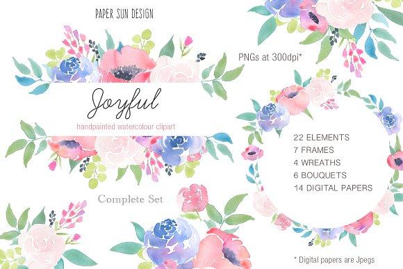 Joyful Rose - Floral Clipart