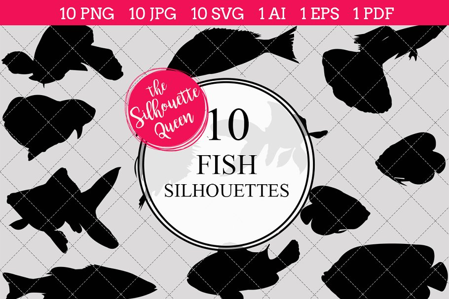 Fish Silhouette Clipart Vector Graphic Objects Creative Market