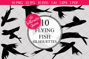 Flying Fish Silhouette Clipart Vecto