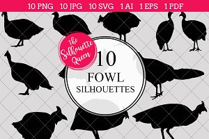 Fowl Silhouette Clipart Vector