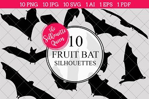 Fruit Bat Silhouette Clipart Vector