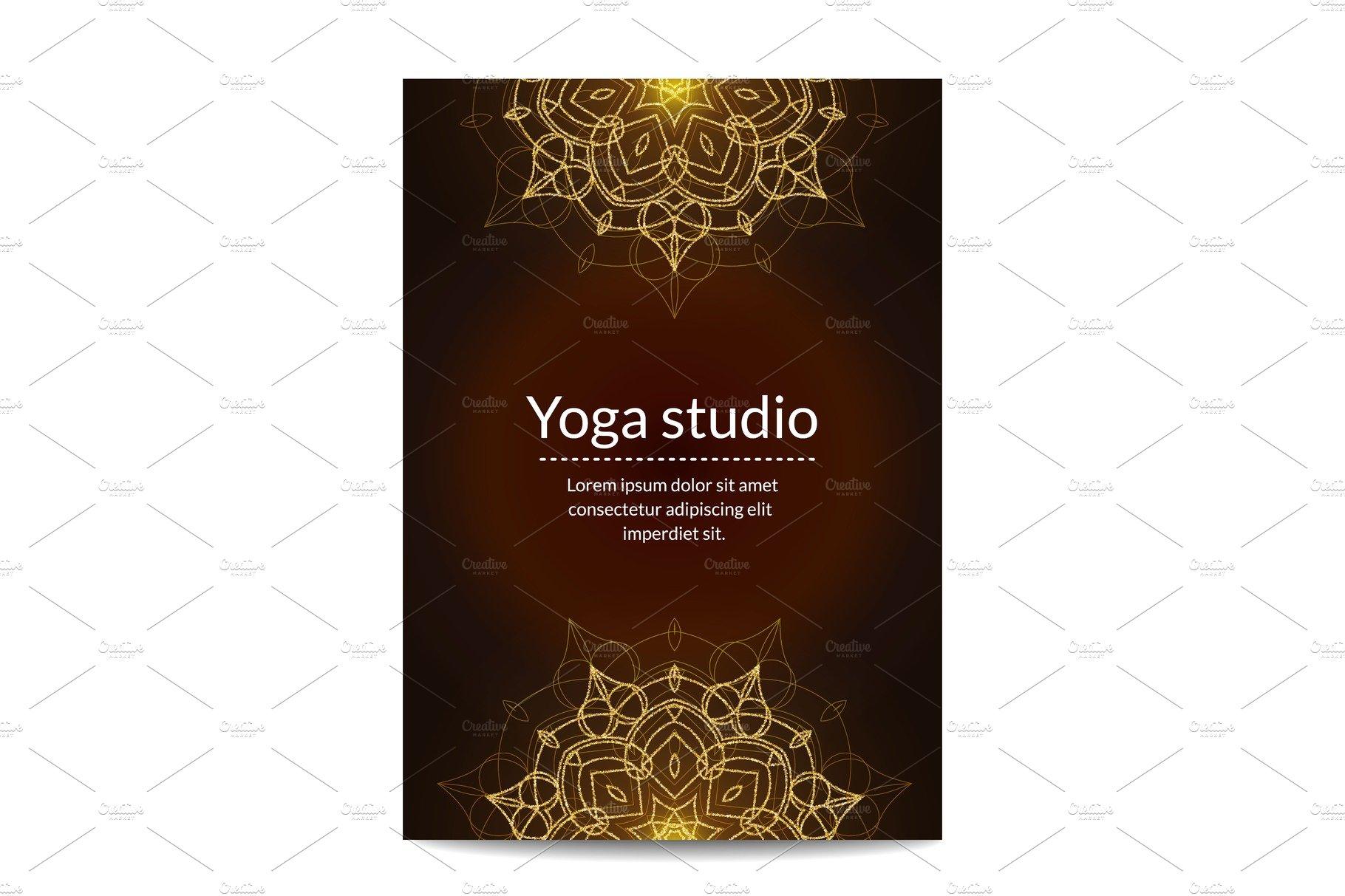 Yoga Studio Banner With Gold Glitter Pre Designed Vector Graphics Creative Market