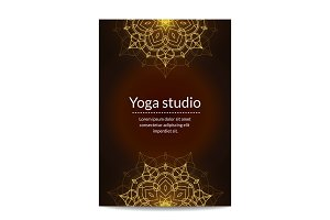 Yoga studio banner with gold glitter