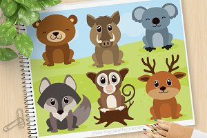 Woodland Animals Clipart, SVG
