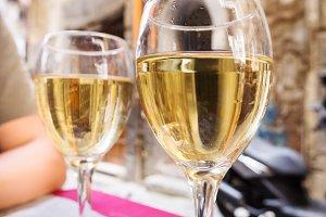 Wineglass of white wine