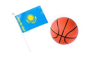 Kazakh flag and basketball