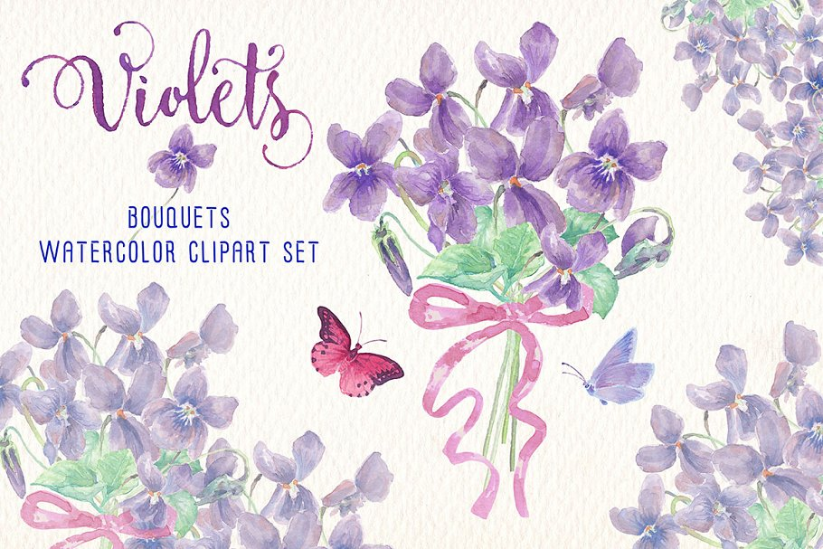 spring bundle watercolor clipart in Illustrations - product preview 5