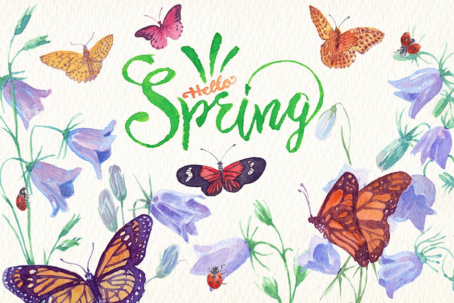 spring bundle watercolor clipart in Illustrations - product preview 6