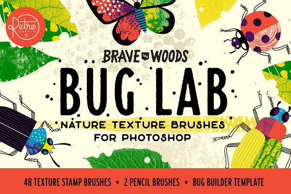 Add-Ons: RetroSupply Co. - Bug Lab | Photoshop Texture Brushes