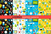 Science Flat Seamless Patterns