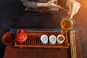 Chinese tea ceremony is perfomed by