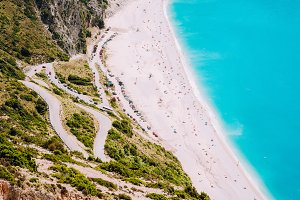 Myrtos Beach. Tourists sunbathing