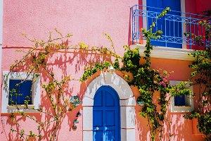 Assos village. Traditional pink
