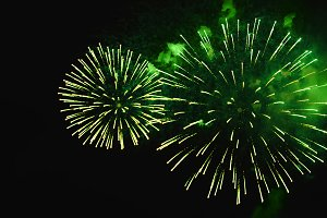 Brightly green color fireworks