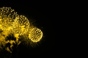 Golden yellow colored fireworks