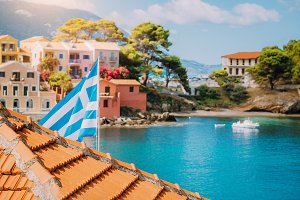 Summer view of sunny Assos village