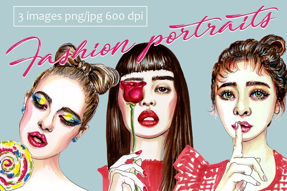 Fashional portraits of girls in Illustrations