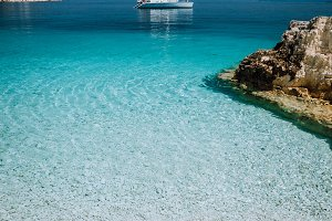 Beautiful azure blue lagoon with