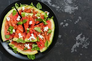 Summer salad watermelon grill with