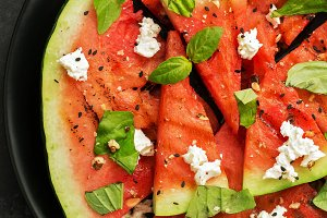 Grilled watermelon with cheese and