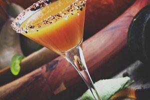 Fresh pumpkin juice on a dark Hallow
