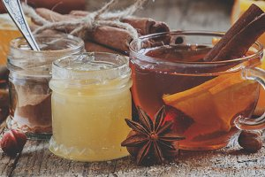 Winter tea with orange, honey and ci