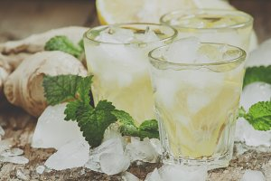 refreshing cold drink with ginger, l