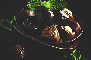 Chocolate candies, assorted, decorat