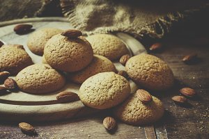 Homemade almond cookies, vintage woo