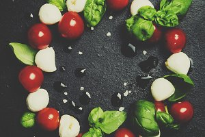 Caprese salad with mini mozzarella,