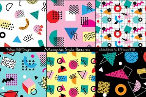 Memphis Style Seamless Patterns