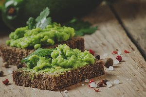 Sandwiches with black rye bread and