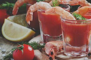 Shrimp cocktail in small glasses, ch