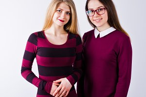 Portrait of two female friends in ch