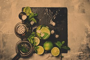 Mojito cocktail, food background, to