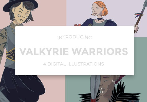 Warrior Women Illustration set