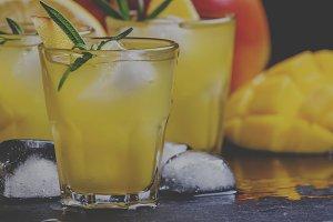 Alcoholic cocktail, mango rum collin