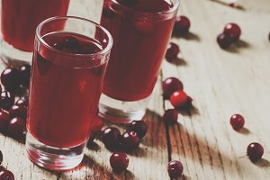 Cranberry juice, selective focus and