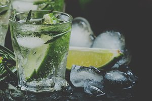 Lime Lemonade with rosemary and ice,