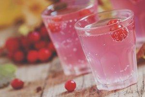 Pink cocktail with viburnum, cranber