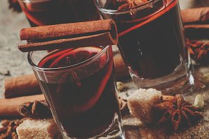 Winter hot mulled wine with cinnamon