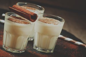 Traditional winter eggnog  with milk