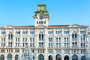 Palace and old buildings on city squ