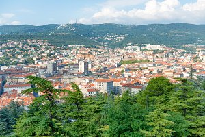 Aerial view to city of Trieste in It