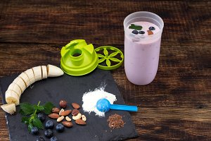 Prepared berry mousse in a shaker.