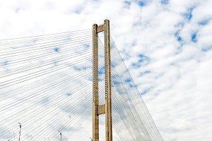 Cable bridge over river