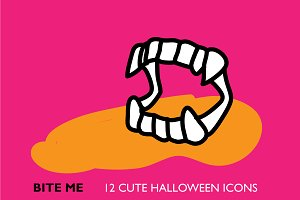 12 Cute Halloween Icon Set
