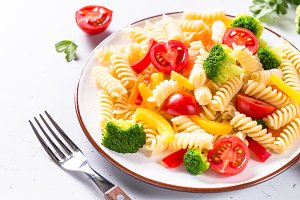 Vegan pasta fusilli with vegetables