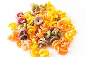 Figured pasta. Multicolored pasta. M